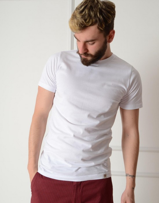Basic Slim Fit Beyaz Erkek Tişört
