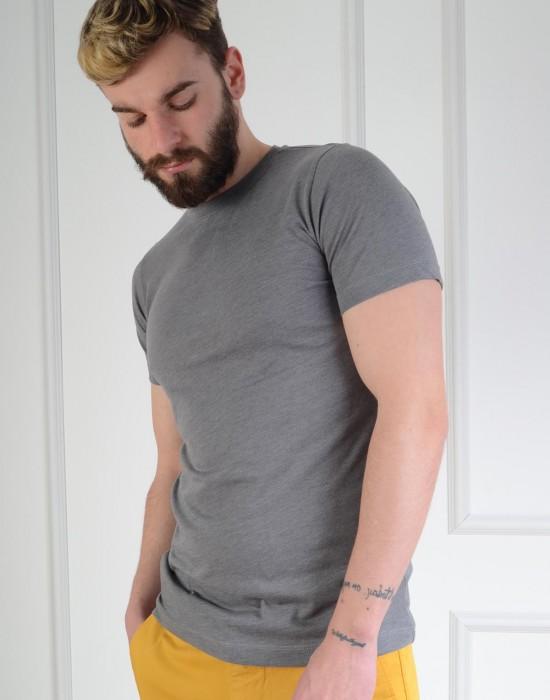 Basic Slim Fit Gri Erkek Tişört