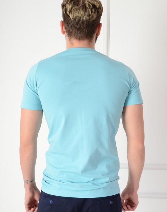 Basic Slim Fit Marin Erkek Tişört