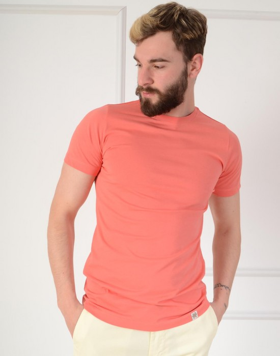 Basic Slim Fit Koyu Pembe Erkek Tişört