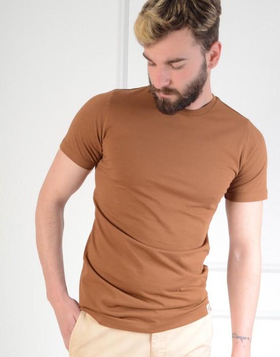 Basic Slim Fit Kahverengi Erkek Tişört
