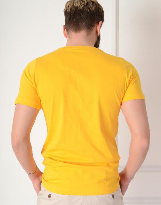 Basic Slim Fit Limon Sarı Erkek Tişört