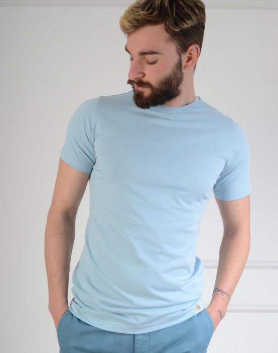 Basic Slim Fit Mavi Erkek Tişört