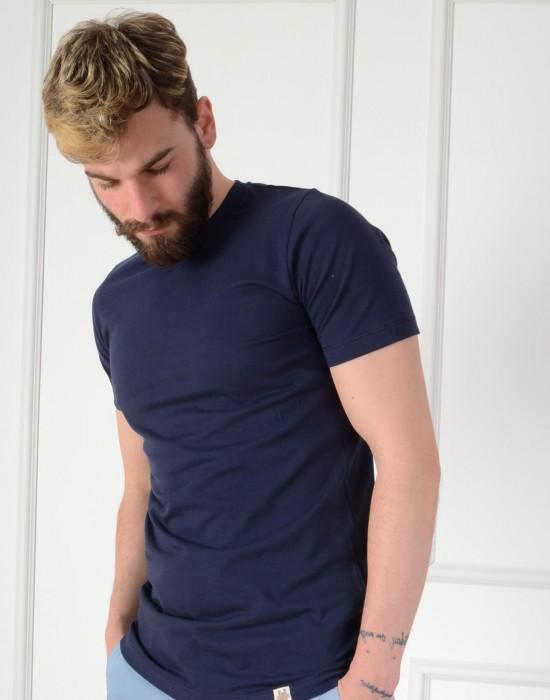 Basic Slim Fit Lacivert Erkek Tişört