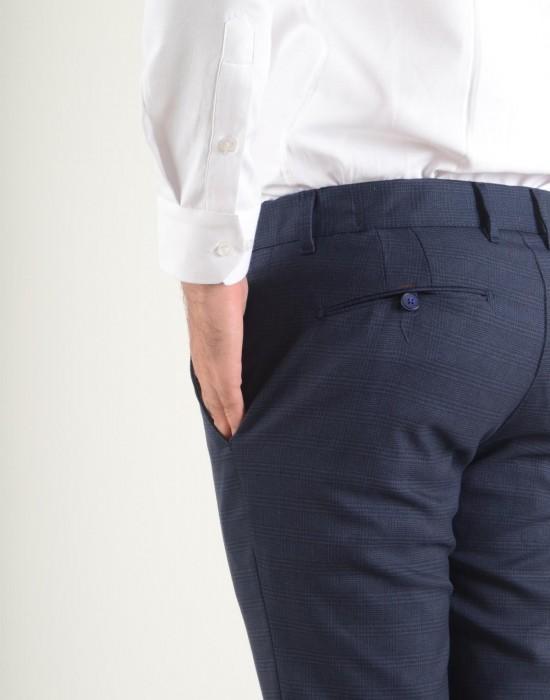 Beli Lastikli Ekose Kumaş İndigo Erkek Pantolon Sirkeci