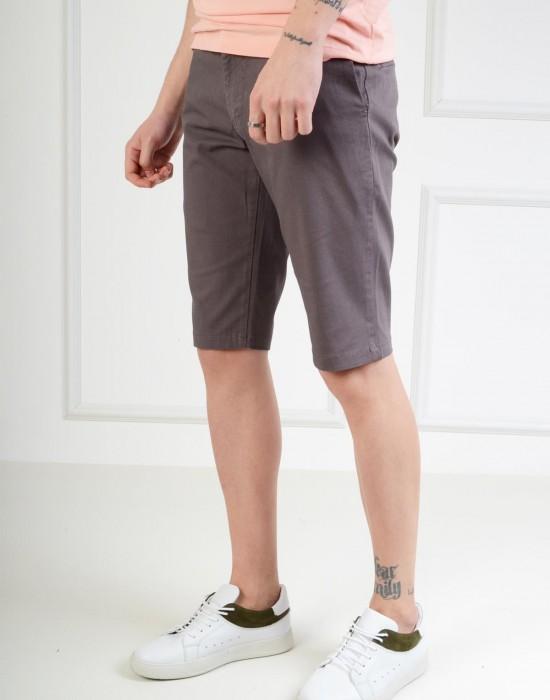 Bermuda Slim Fit Füme Erkek Şort