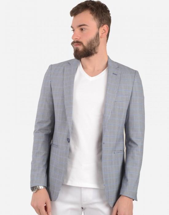 Ekose Blazer Gri Erkek Ceket