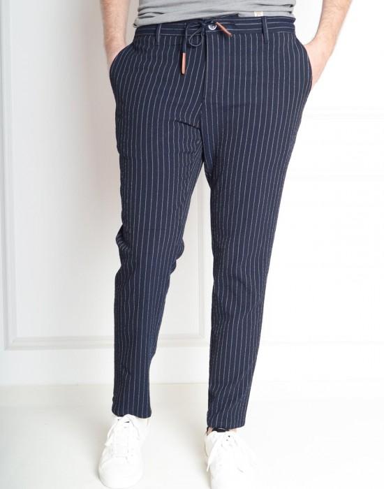 Gofre Çizgili Yazlık Slim Fit Lacivert Erkek Pantolon