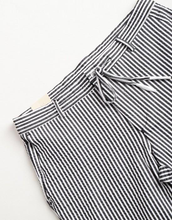 Marina Çizgili Yazlık Slim Fit Siyah Erkek Pantolon