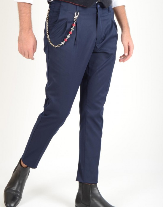 Çift Pili Kumaş Lacivert Erkek Pantolon İstinye