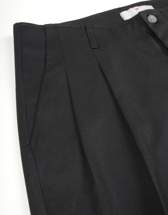Çift Pili Kumaş Siyah Erkek Pantolon İstinye