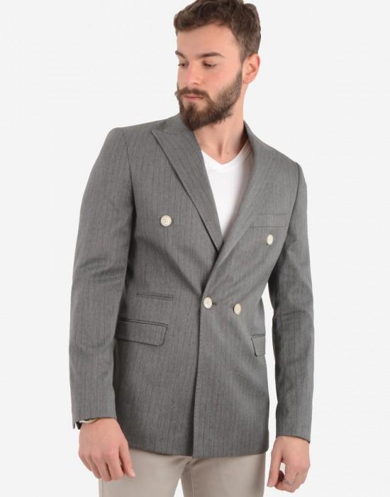 Kruvaze Çizgili Gri Erkek Ceket