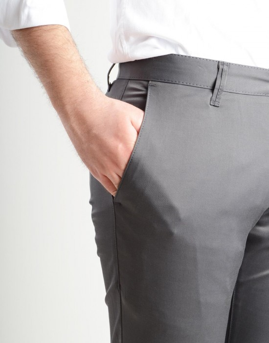 Slim Fit Yandan Cep Füme Erkek Pantolon Bolu